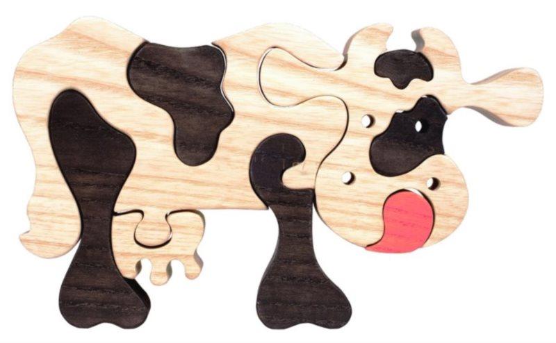 FAUNA Dřevěné puzzle Černá kráva