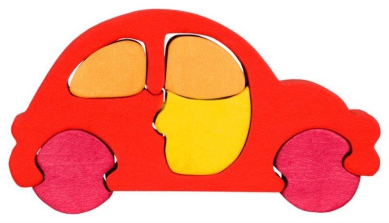 FAUNA Dřevěné puzzle Červené auto malé