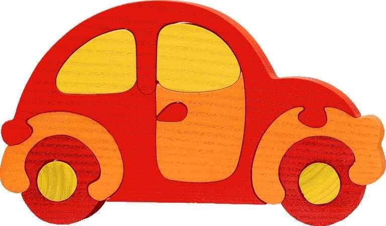 FAUNA Dřevěné puzzle Červené auto velké