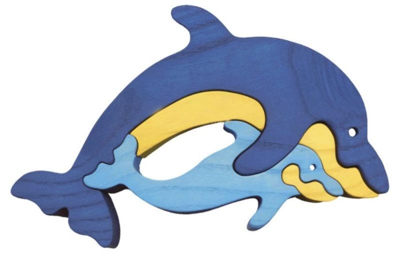 FAUNA Dřevěné puzzle Delfín
