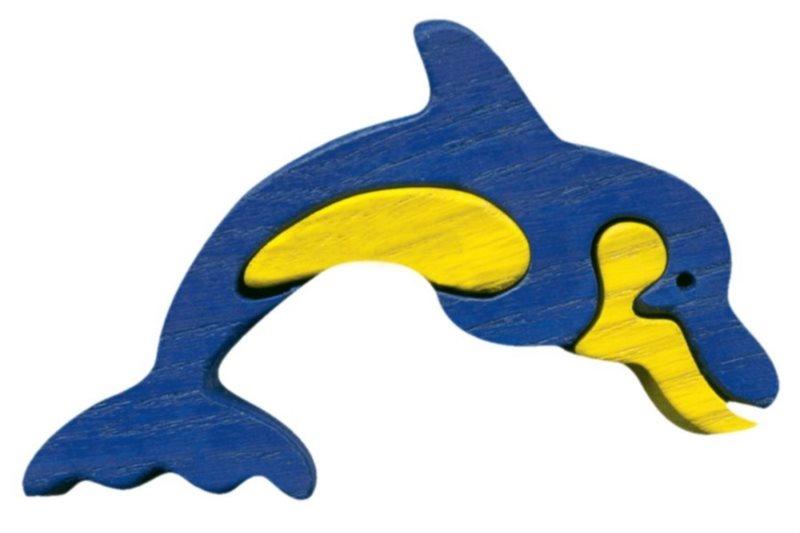 Dřevěné puzzle z masivu FAUNA Delfín malý