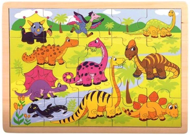 BINO Dřevěné puzzle Dinosauři 20 dílků