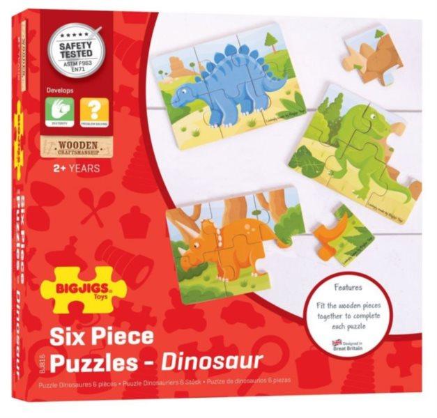 BIGJIGS Dřevěné puzzle Dinosauři 3x6 dílků