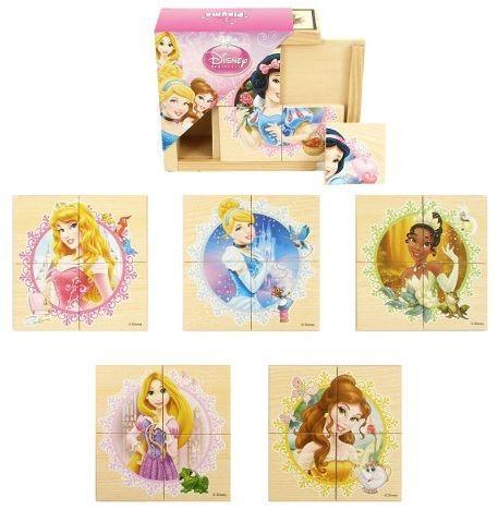 Dřevěné puzzle 6v1 Disney Princezny (Princess) 6x4 dílky