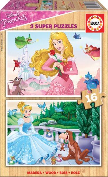EDUCA Dřevěné puzzle Disney princezny: Popelka a Šípková Růženka 2x16 dílků