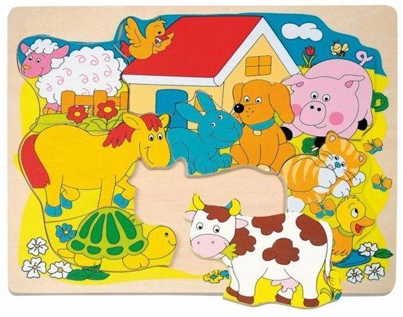 WOODY Dřevěné puzzle Farma, 10 dílků