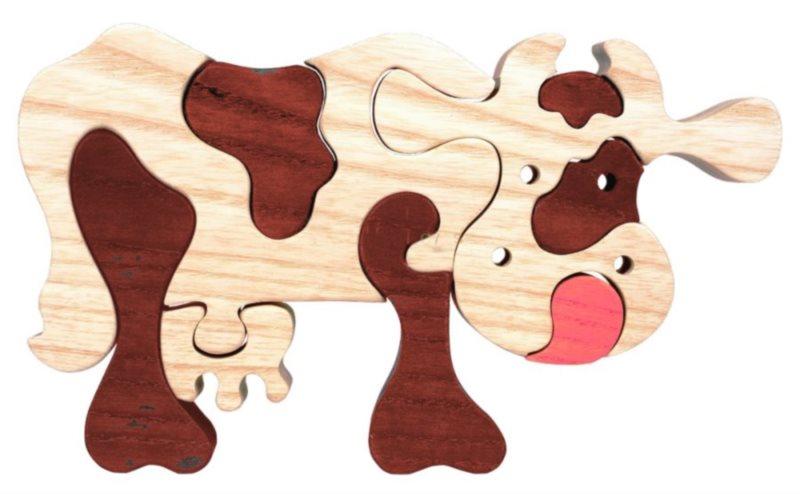 FAUNA Dřevěné puzzle Hnědá kráva