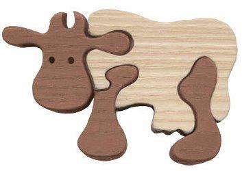 FAUNA Dřevěné puzzle Hnědá kráva malá