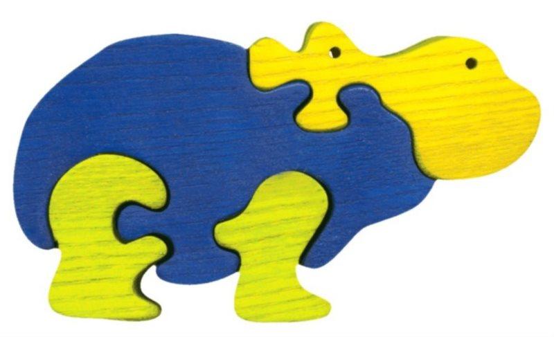 FAUNA Dřevěné puzzle Hroch malý