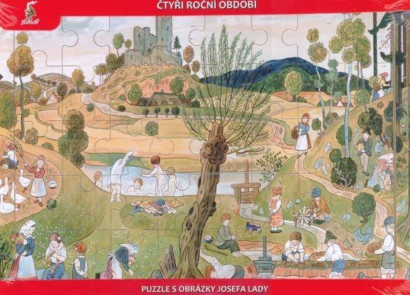 Dřevěné deskové puzzle pro děti - Josef Lada: Léto (40 dílků)