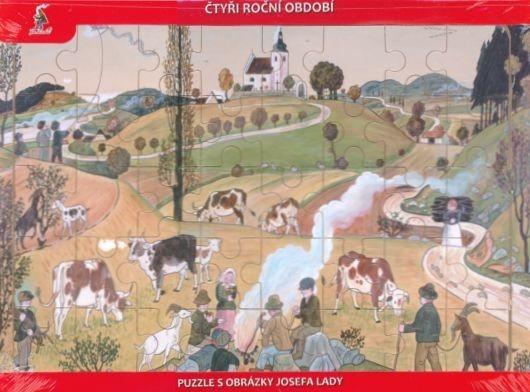 Dřevěné deskové puzzle pro děti - Josef Lada: Podzim (40 dílků)