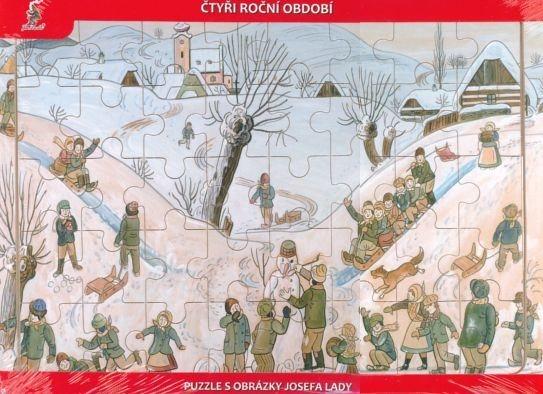 Dřevěné deskové puzzle pro děti - Josef Lada: Zima (40 dílků)