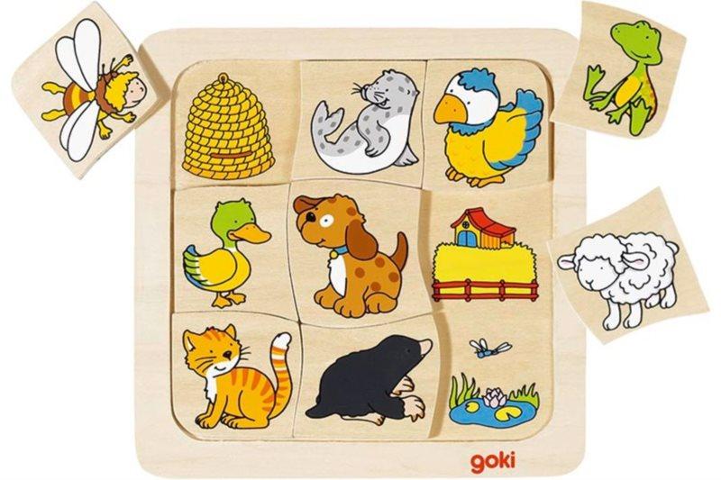 GOKI Dřevěné puzzle Kdo bydlí kde? 9 dílků