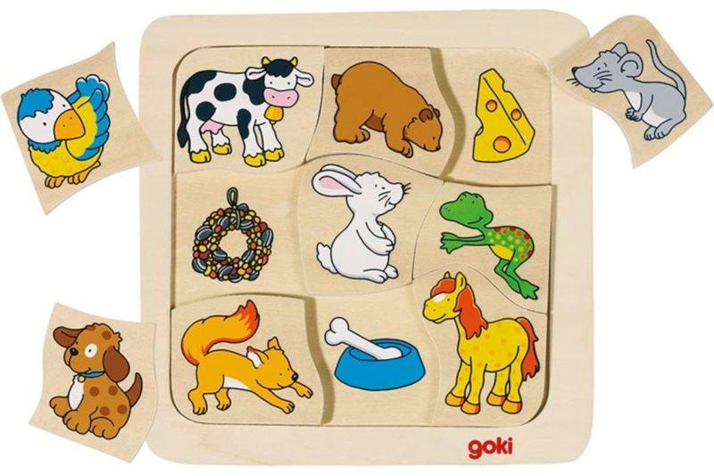 GOKI Dřevěné puzzle Kdo jí co? 9 dílků