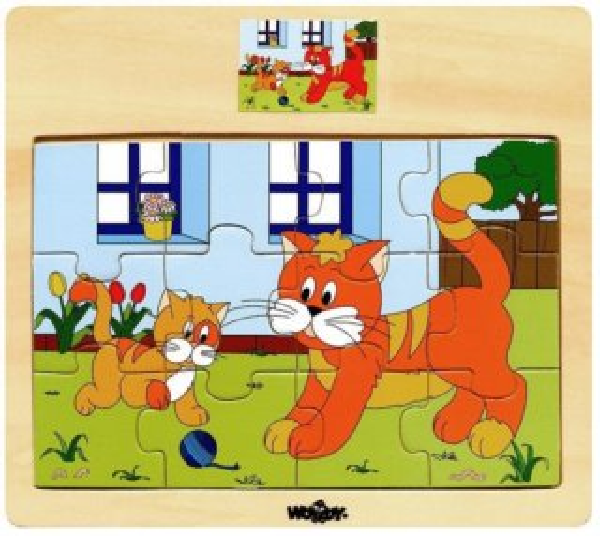 WOODY Dřevěné puzzle Kočka s koťátkem 12 dílků