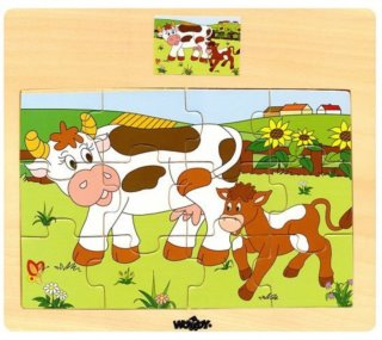 WOODY Dřevěné puzzle Kráva s telátkem 12 dílků
