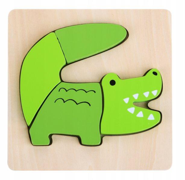 TOP BRIGHT Dřevěné puzzle Krokodýl 4 dílky