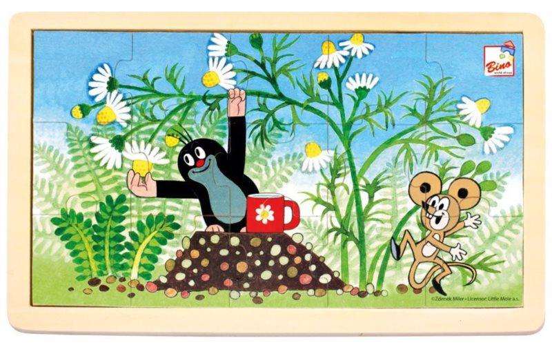BINO Dřevěné puzzle Krtek a myška 15 dílků