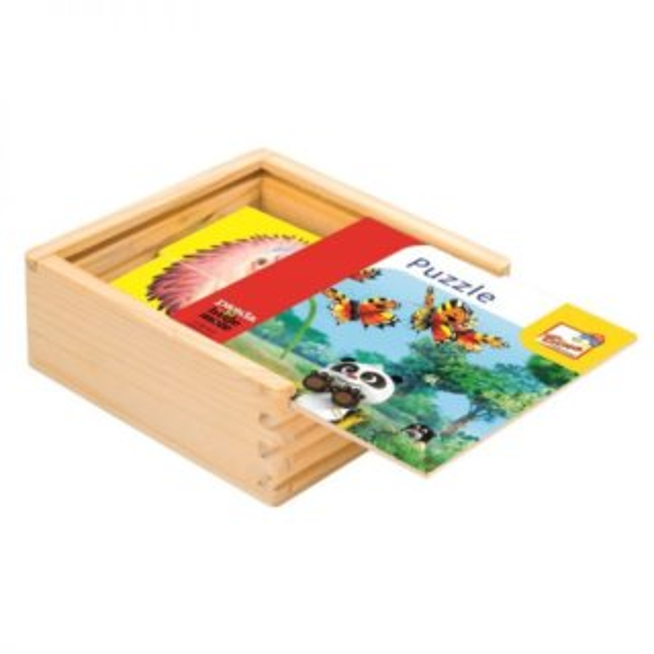 BINO Dřevěné puzzle Krtek a Panda, 4x4 dílky