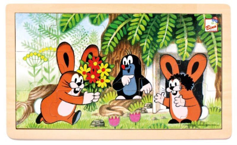 BINO Dřevěné puzzle Krtek a zajíčci 15 dílků