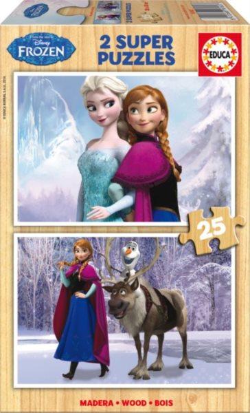 EDUCA Dřevěné puzzle Ledové království 2x25 dílků