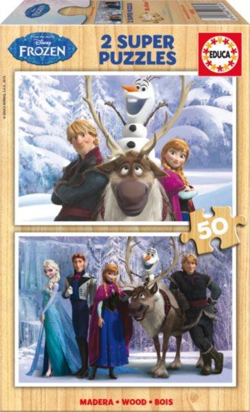 EDUCA Dřevěné puzzle Ledové království 2x50 dílků