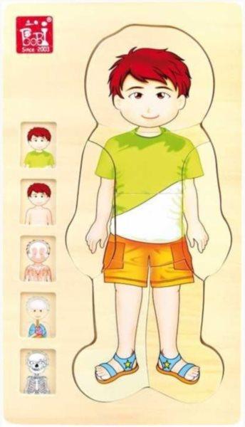 SMALL FOOT Vícevrstvé puzzle Lidské tělo Tim