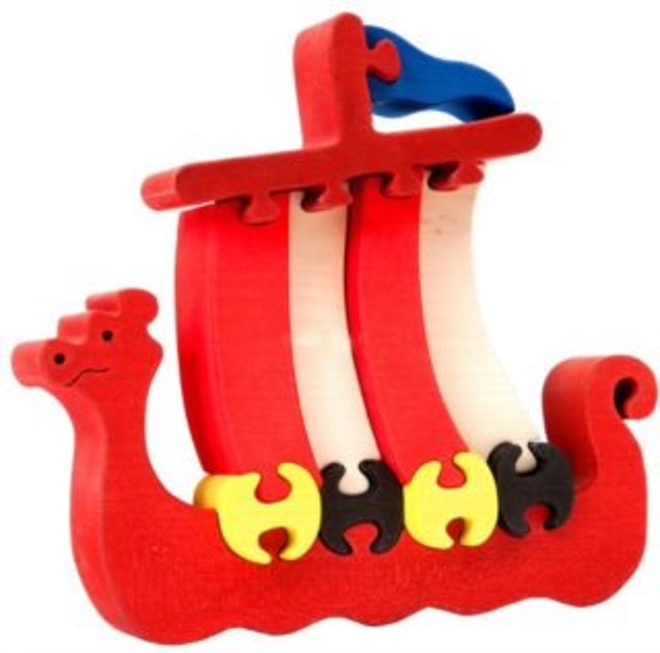 FAUNA Dřevěné puzzle Loď Vikingů velká