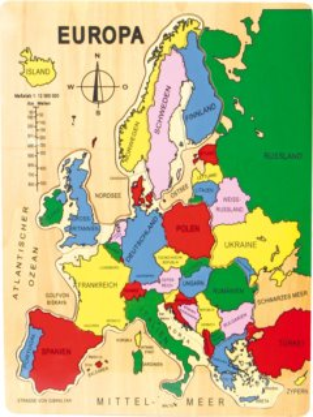 SMALL FOOT Dřevěné puzzle Mapa Evropy 14 dílků