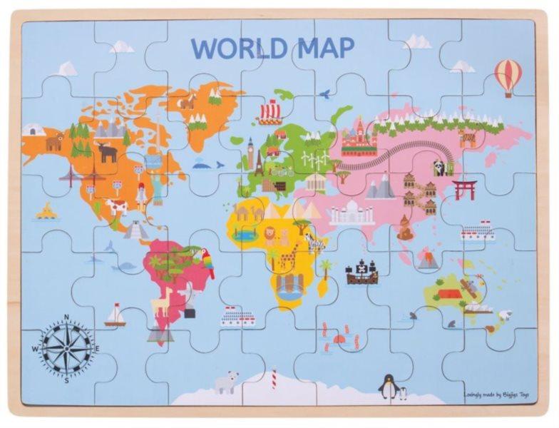 BIGJIGS Dřevěné puzzle Mapa světa 35 dílků
