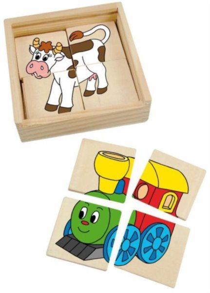 Dřevěné puzzle Mašinka 4x4 dílky
