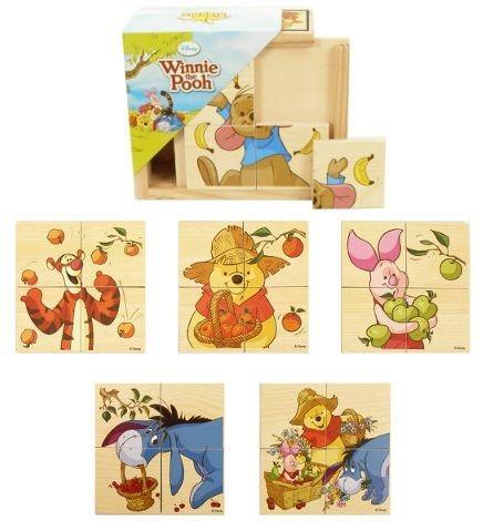 Dřevěné puzzle 6v1 Medvídek Pú 6x4 dílky