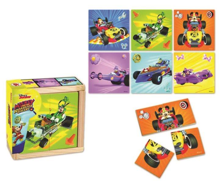 TOP BRIGHT Dřevěné puzzle Mickey a závodníci 6x4 dílky