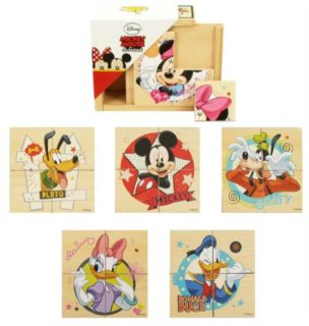 Dřevěné puzzle 6v1 Mickey Mouse a přátelé 6x4 dílky