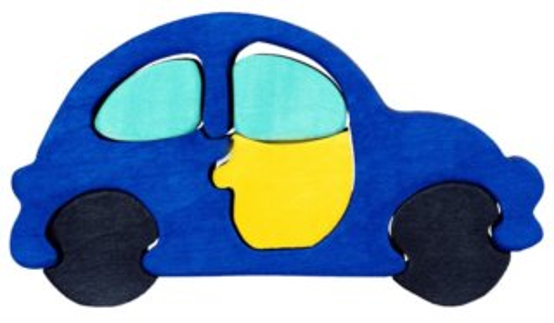 FAUNA Dřevěné puzzle Modré auto malé