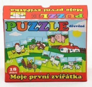 TEDDIES Dřevěné puzzle Moje první zvířátka