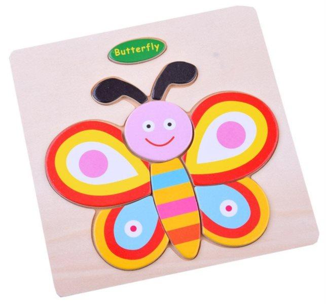 Dřevěné puzzle Motýl 9 dílků