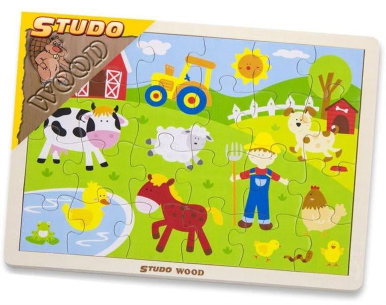 STUDO WOOD Dřevěné puzzle Na farmě 24 dílků
