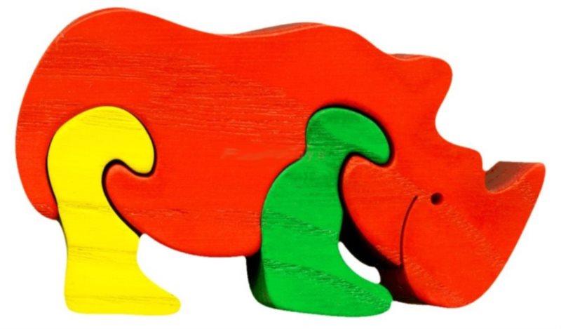 FAUNA Dřevěné puzzle Nosorožec malý