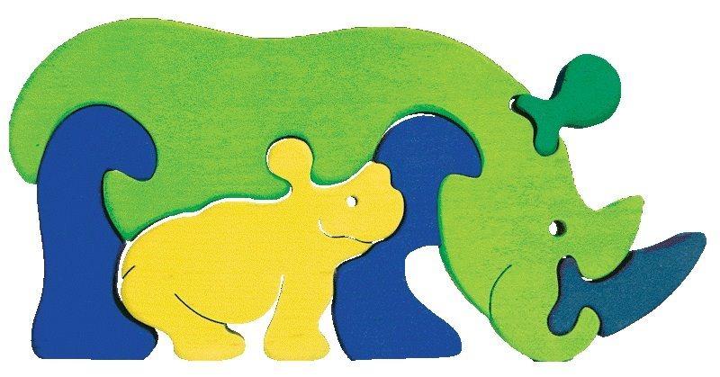 FAUNA Dřevěné puzzle Nosorožec s mládětem