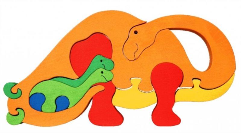 FAUNA Dřevěné puzzle Oranžový brontosaurus velký