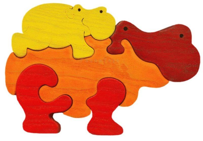 FAUNA Dřevěné puzzle Oranžový hroch s mládětem