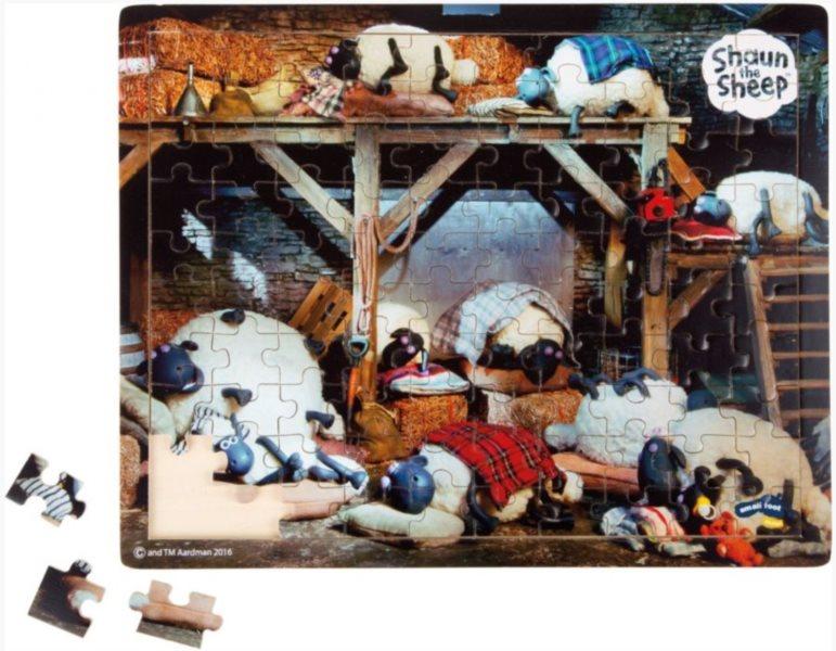 SMALL FOOT Dřevěné puzzle Ovečka Shaun při spánku 100 dílků