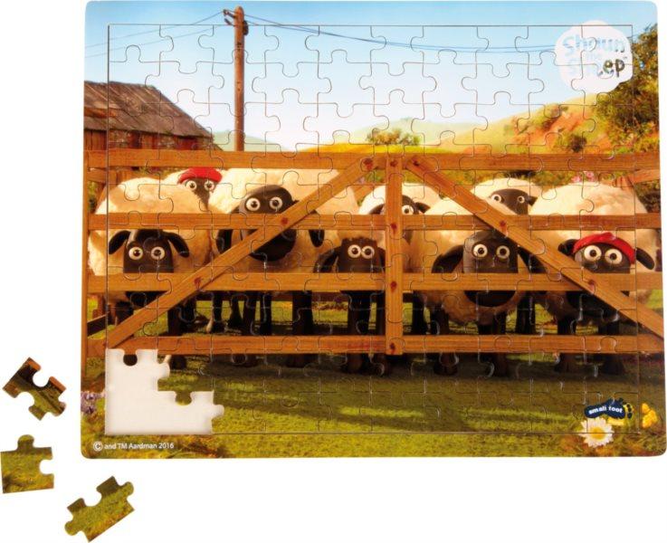 SMALL FOOT Dřevěné puzzle Ovečka Shaun V ohradě 100 dílků