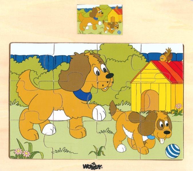 WOODY Dřevěné puzzle Pejsek se štěňátkem 12 dílků