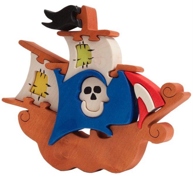 FAUNA Dřevěné puzzle Pirátská loď velká