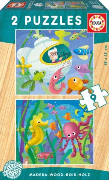 EDUCA Dřevěné puzzle Podmořská zvířata 2x9 dílků