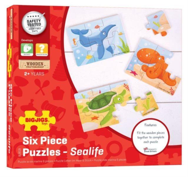 BIGJIGS Dřevěné puzzle Podvodní svět 3x6 dílků