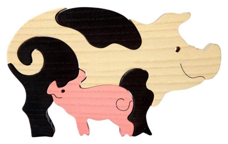 FAUNA Dřevěné puzzle Prase s mládětem