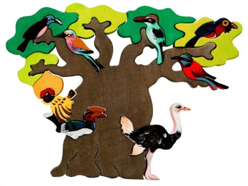 FAUNA Dřevěné puzzle Ptačí strom: Afrika